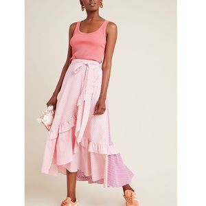 Anthropologie | Maeve Penny ruffled striped skirt